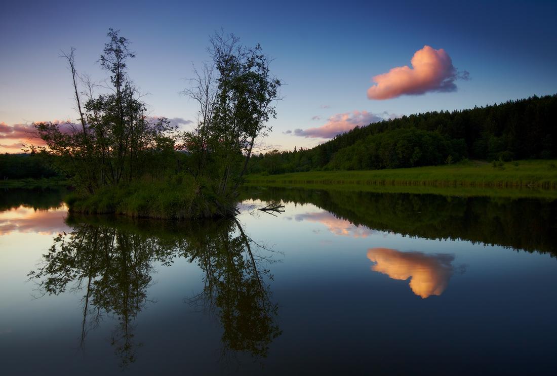 правило сечения при фотографии отражения на воде