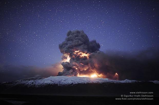 время для фото вулкана