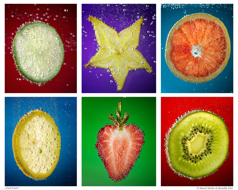 Как фотографируют фрукты в газировке