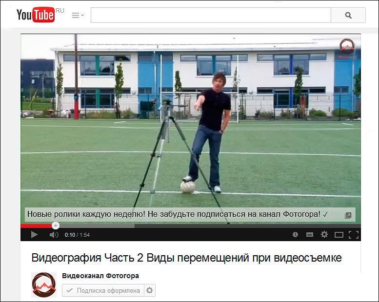 Видеография. Часть 2. Виды перемещений при видеосъемке