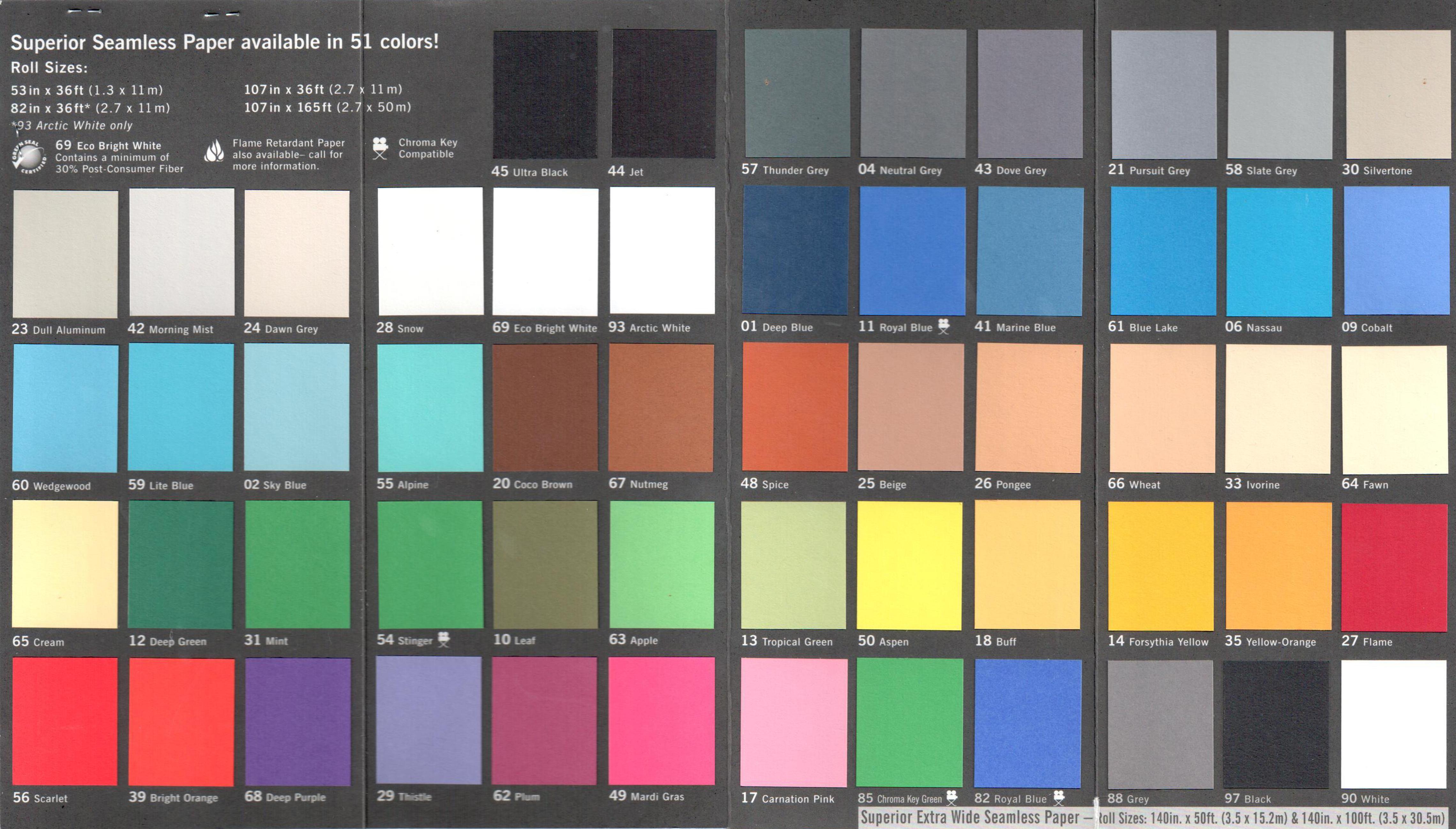 Палитра цвета бумажных фонов Superior от производителя