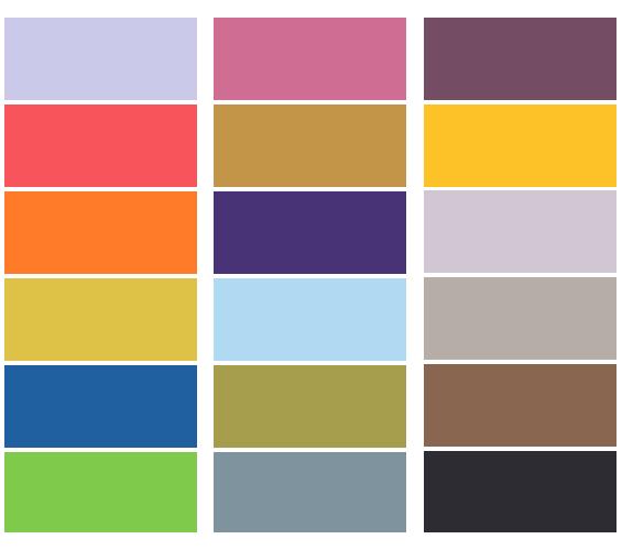 Цветовая таблица бумажных фонов Lastolite, Colorama, Superior, BD, Savage и т.д.