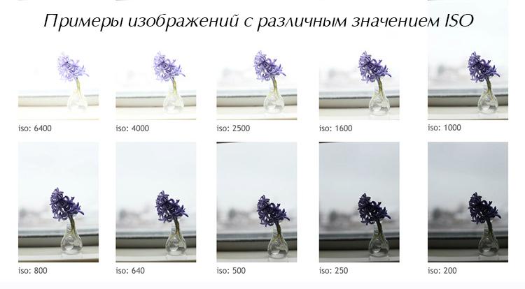 изображения с различными значениями ISO